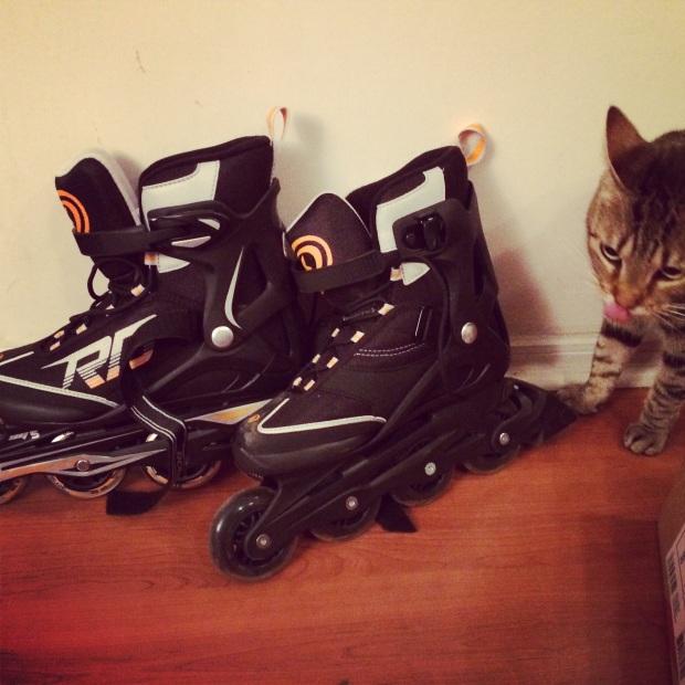 Foto de mis patines con modelo gatuna incluida